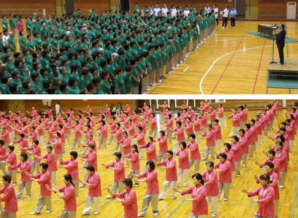 上:金尾県連会長の挨拶  下:県連会員の表演