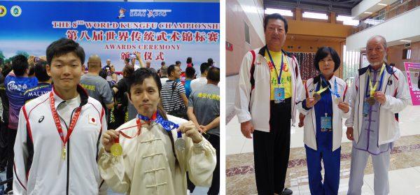 左から金メダルを獲得した小島隆平選手、下川美富選手と日本華麗太極拳連合会の皆さま