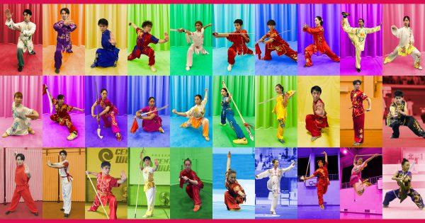 IWUF武術套路バーチャル競技会2021の日本代表選手たち(左上から右に向かって名簿順)